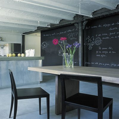 Marie+Claire+maison,+blackboard+wall+in+kitchen