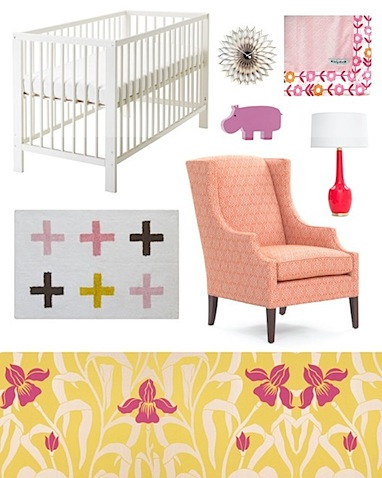 wallpaper baby room. iris print wallpaper would