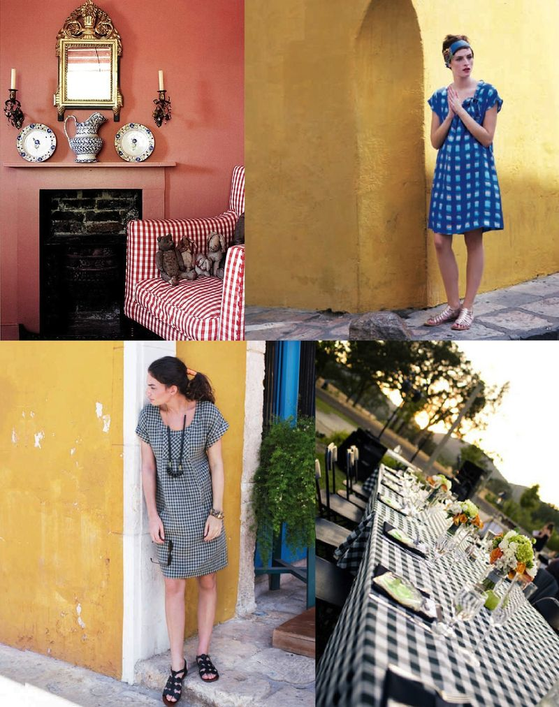 Gingham fashion interior design decor inspiration board2