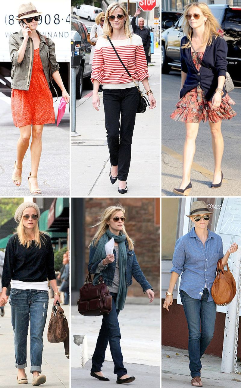 Reese witherspoon street style fashion clothes jeans dress floral stripes