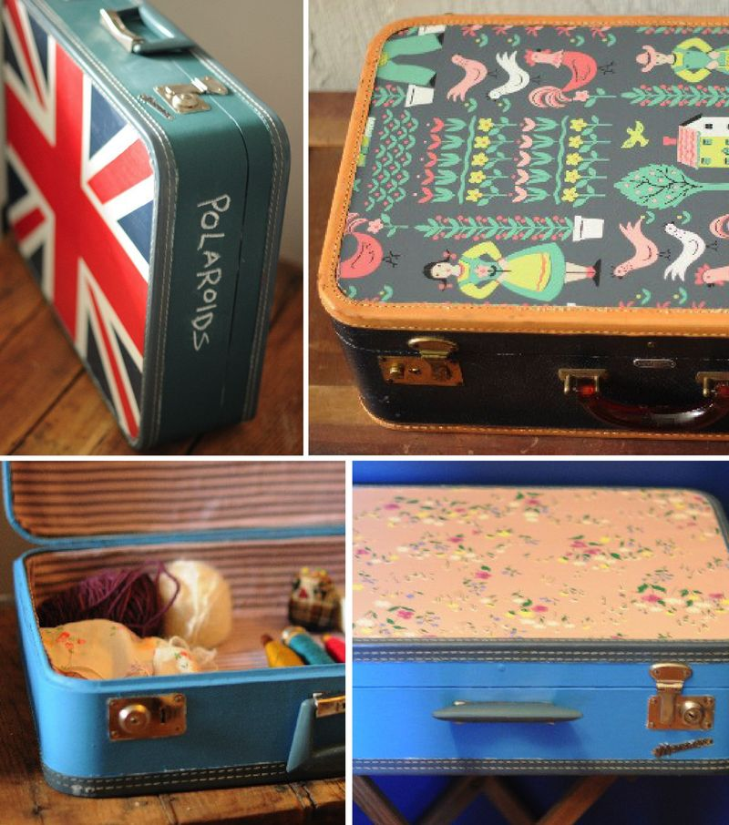 Cabin 7 vintage suitcase etsy wallpaper upcycled decoupage floral