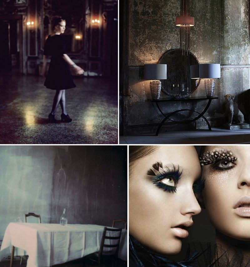 Halloween inspiration board glamour black gold gothic