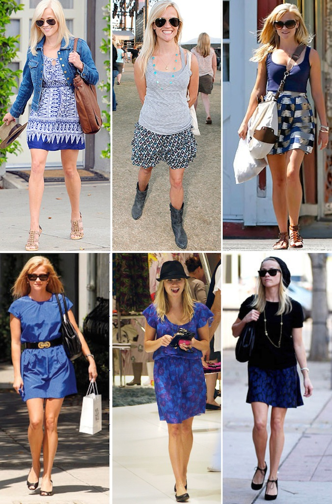 Reese witherspoon street style fashion clothes jeans dress floral stripes 2