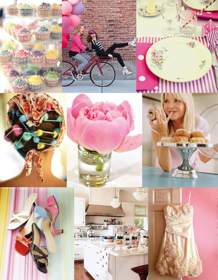 Pink-retro-1950s-inspiration-board-bridal-shower-cupcakes