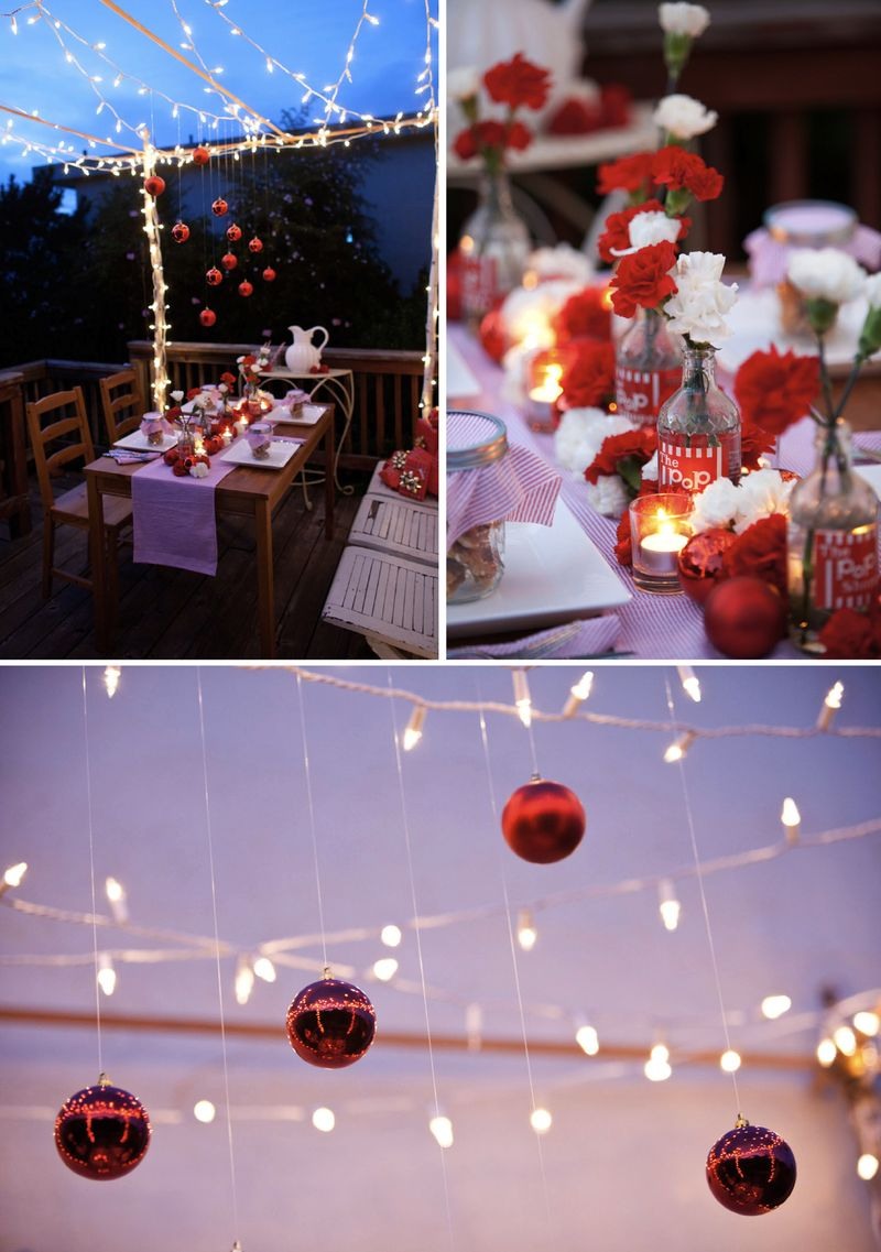 Christmas holiday tabletop wedding red white carnations