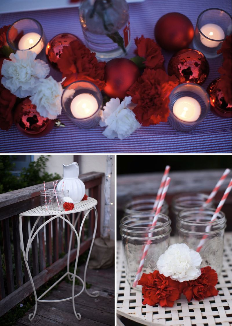 Christmas holiday tabletop wedding red white carnations 2