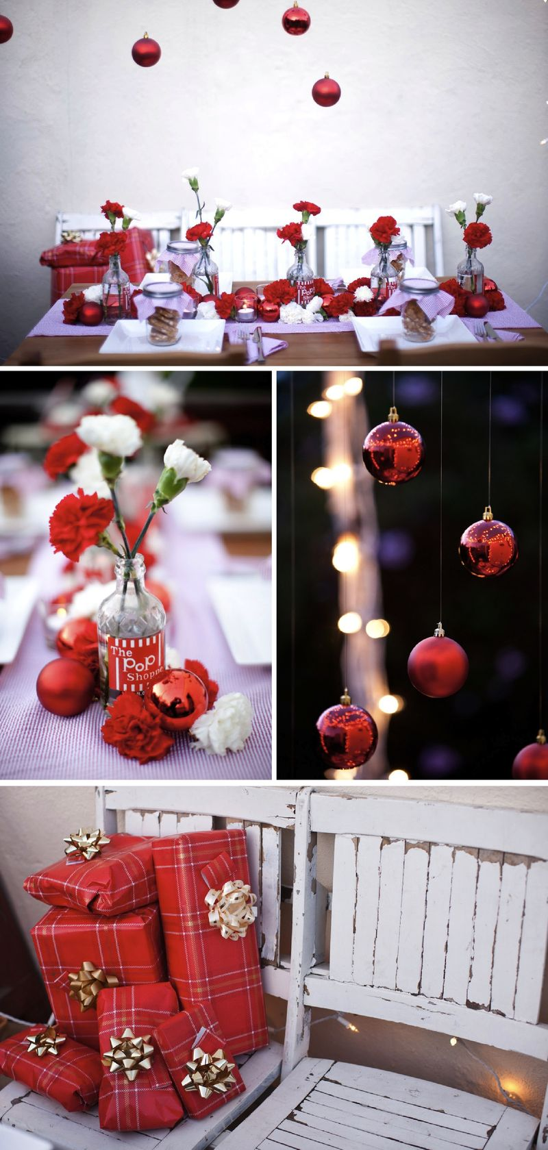 Christmas holiday tabletop wedding red white carnations 3