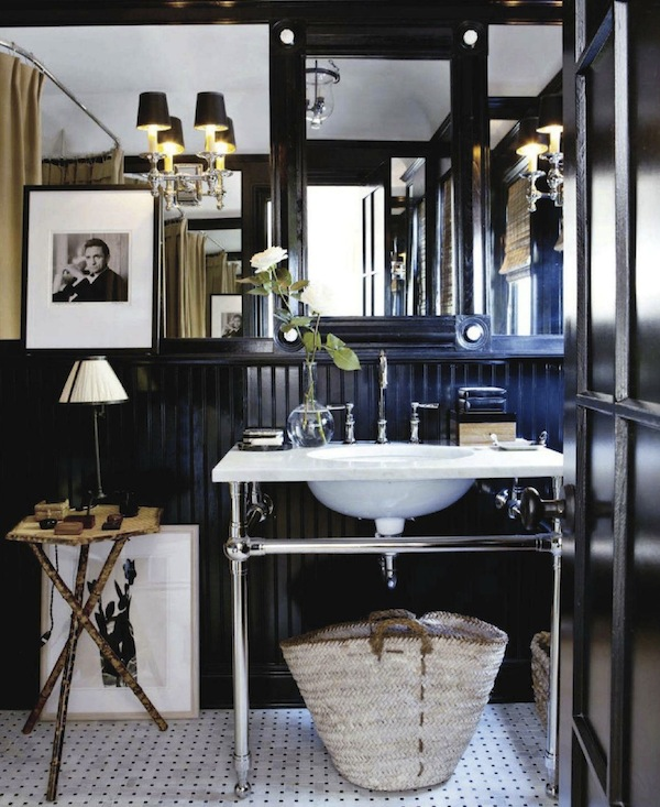 House beautiful traditional bathroom interior design black walls