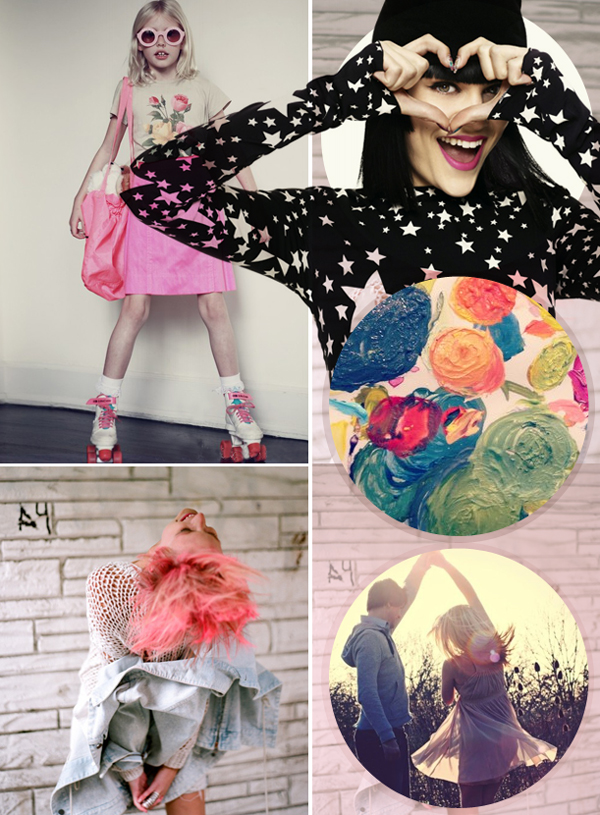 Pink-black-neon-stars-flowers-inspiration-board-