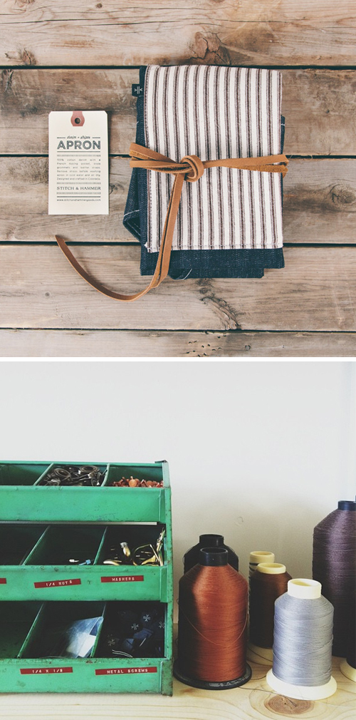 Striped denim apron