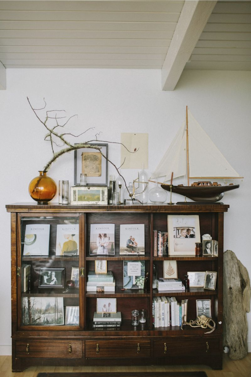 Eclectic nautical bookshelf style interior decor