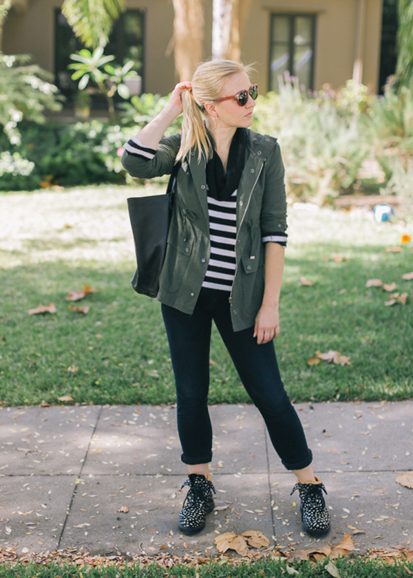 Stripes + army jacket