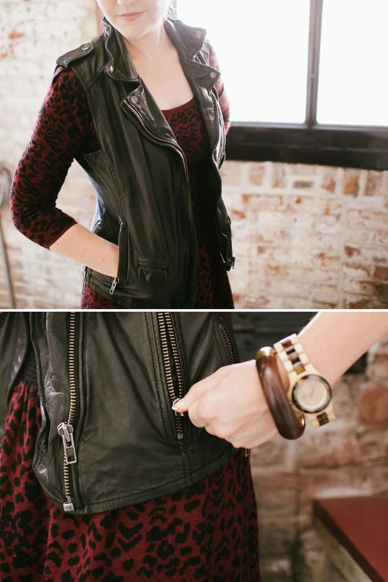Leather vest styling