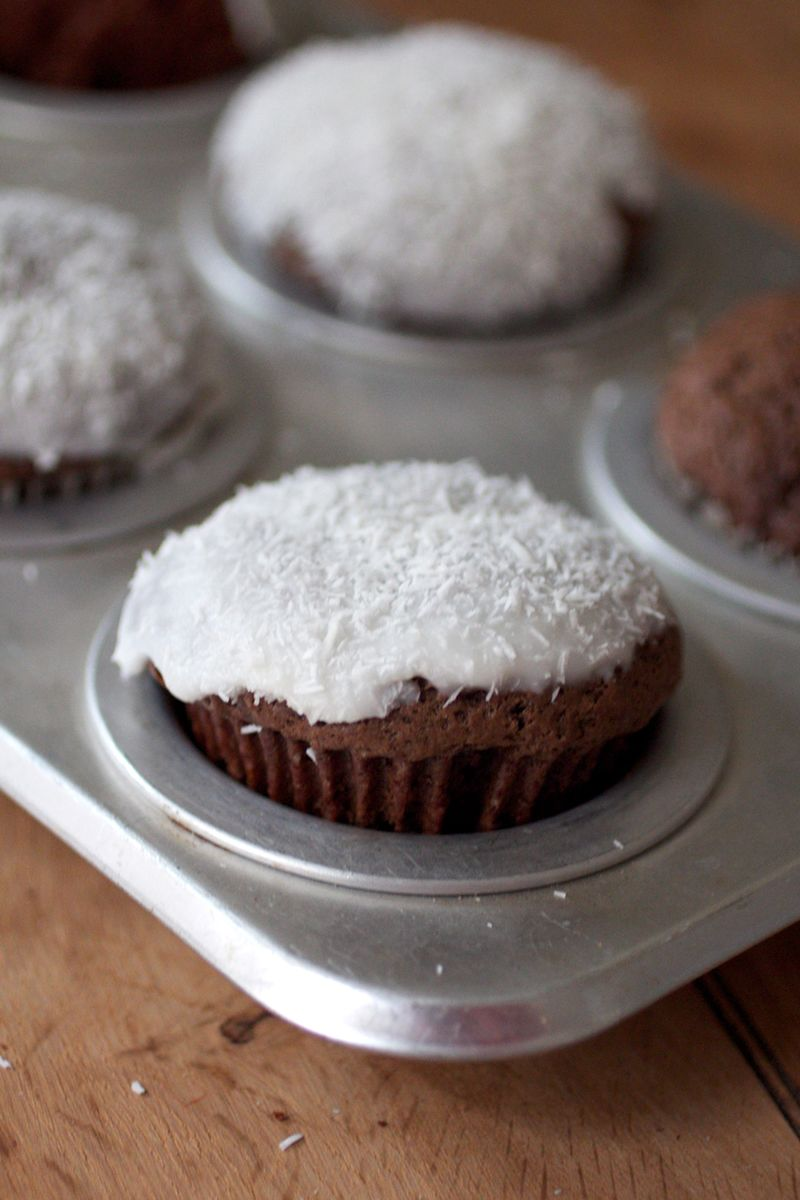 Chocolate gingerbread with coconut frosting