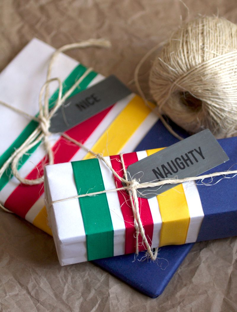 DIY hudson bay blanket gift wrap