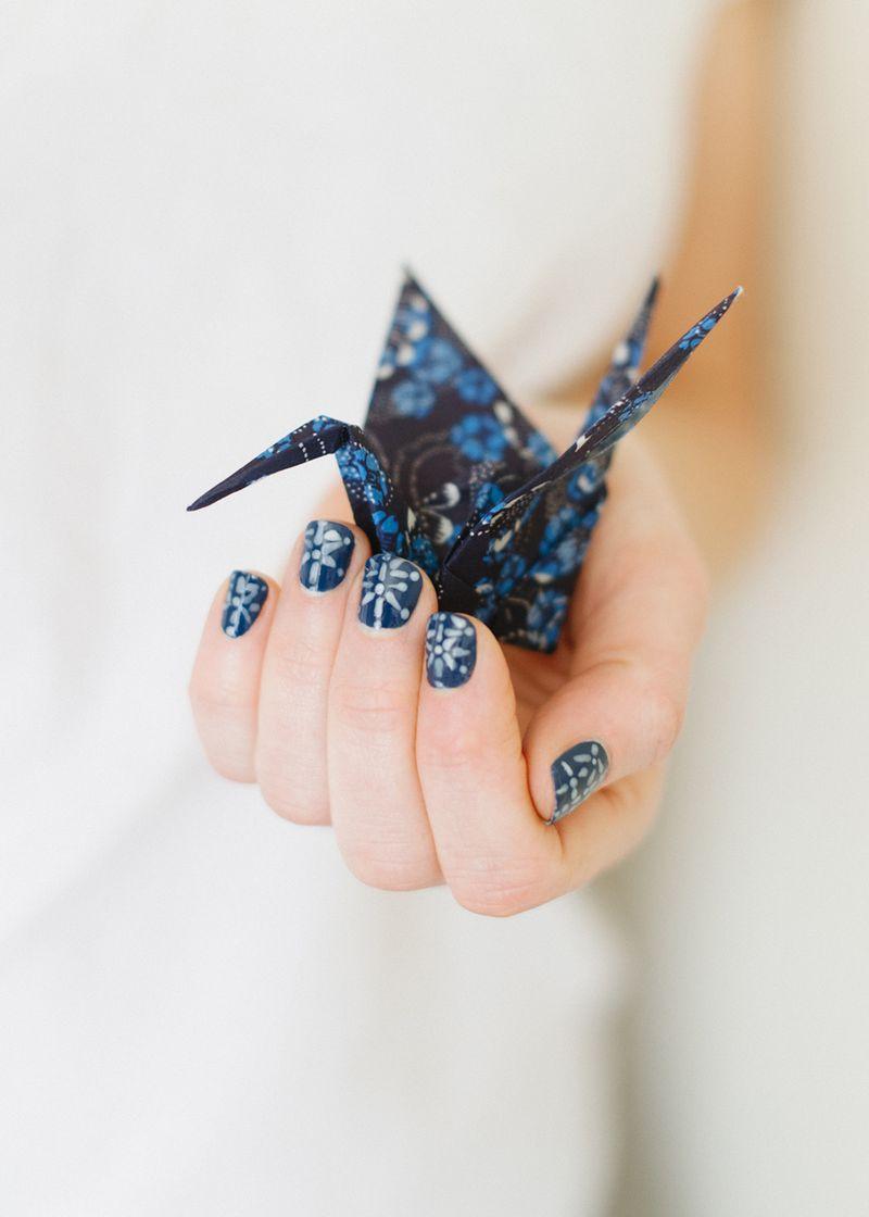 Japanese indigo nail art