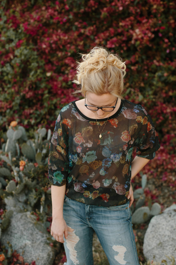 Florals + distressed denim