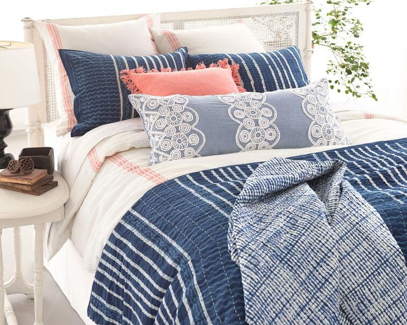 Indigo and linen bedding