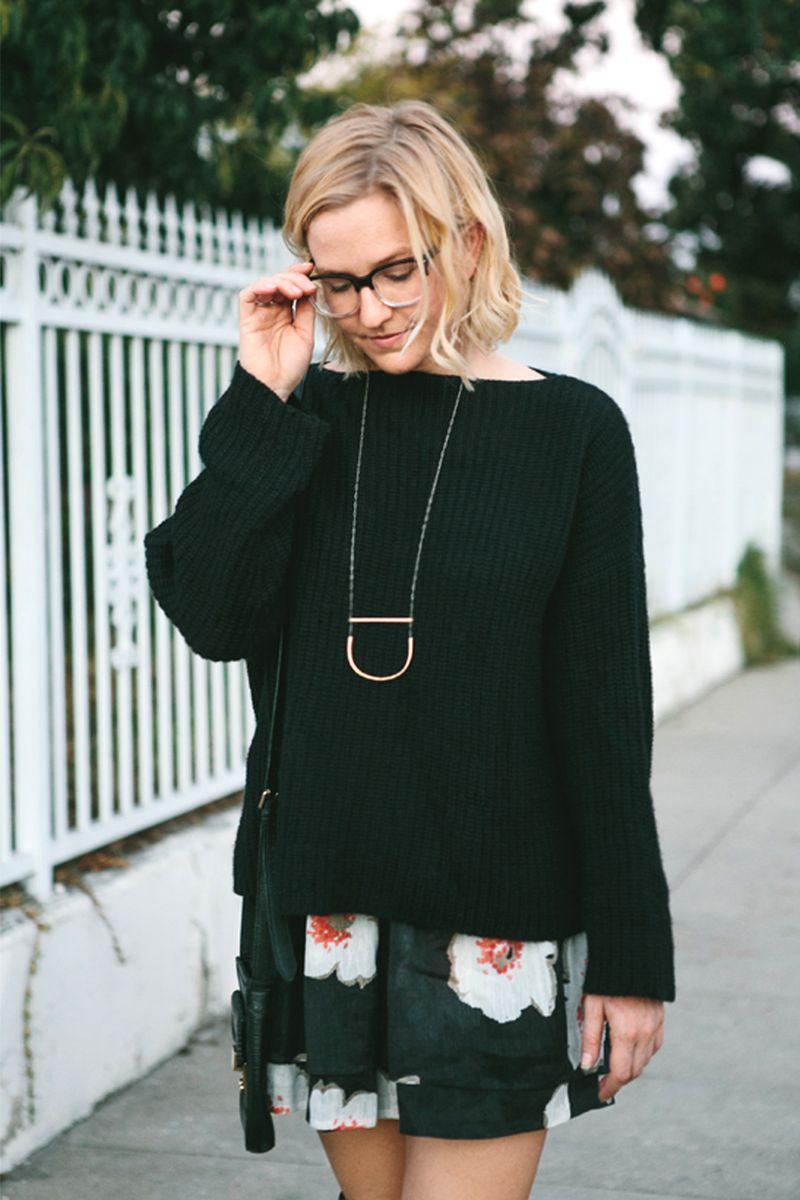 Chunky knit + skirt
