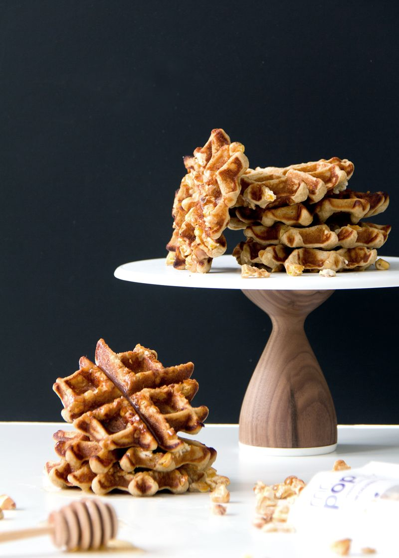 Mini gluten free waffles with popcorn make the perfect snack!