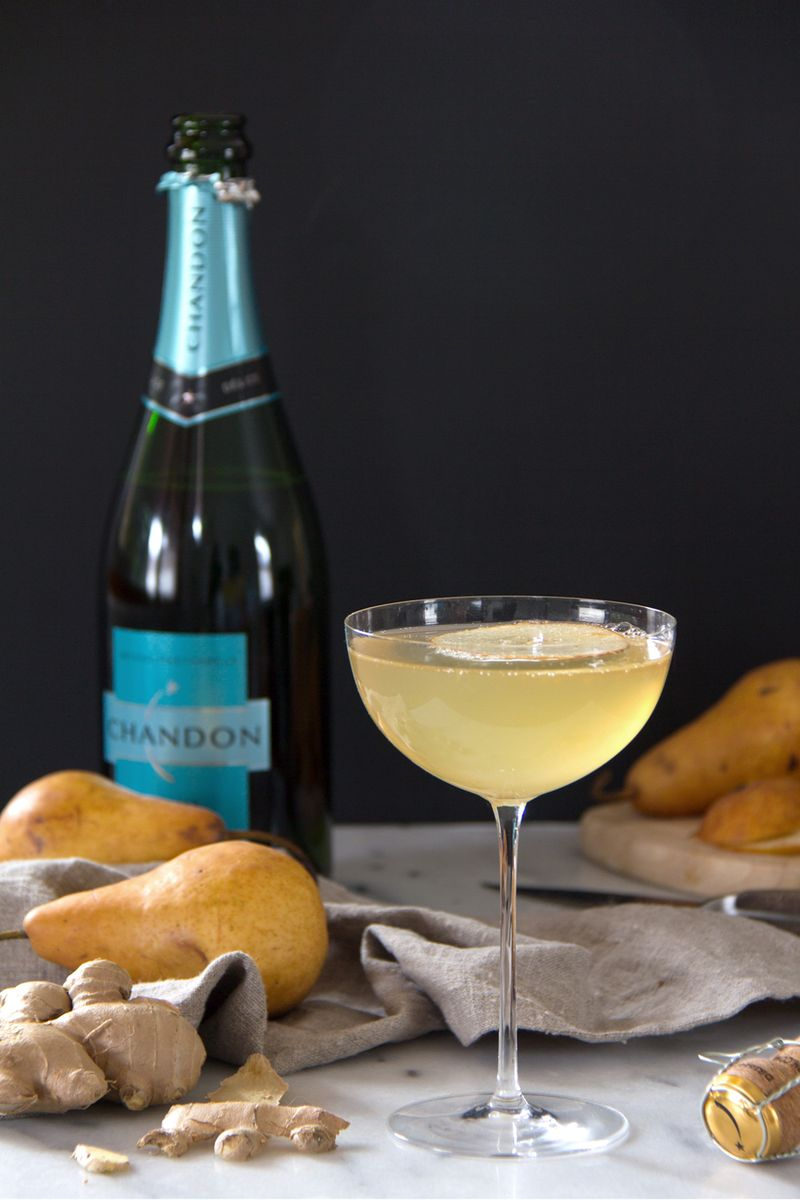 Pear, ginger, and sparkling wine brunch cocktail