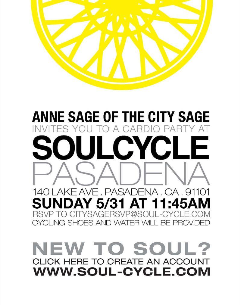 Soulcycle pasadena invitation