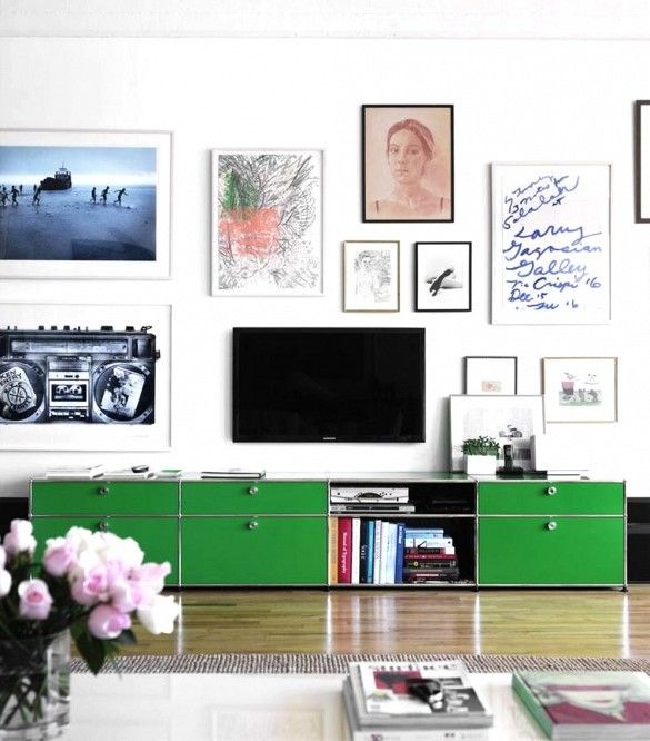 How to hang art around a tv wall