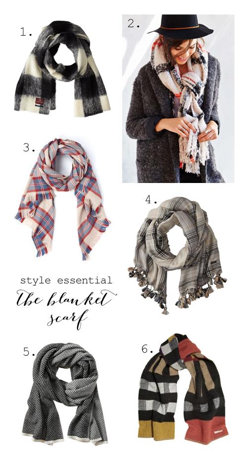 Oversized plaid blanket scarves