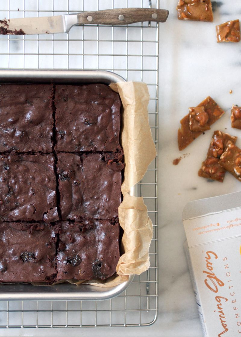 Incredibly moist and fudgy brownies with cashew brittle