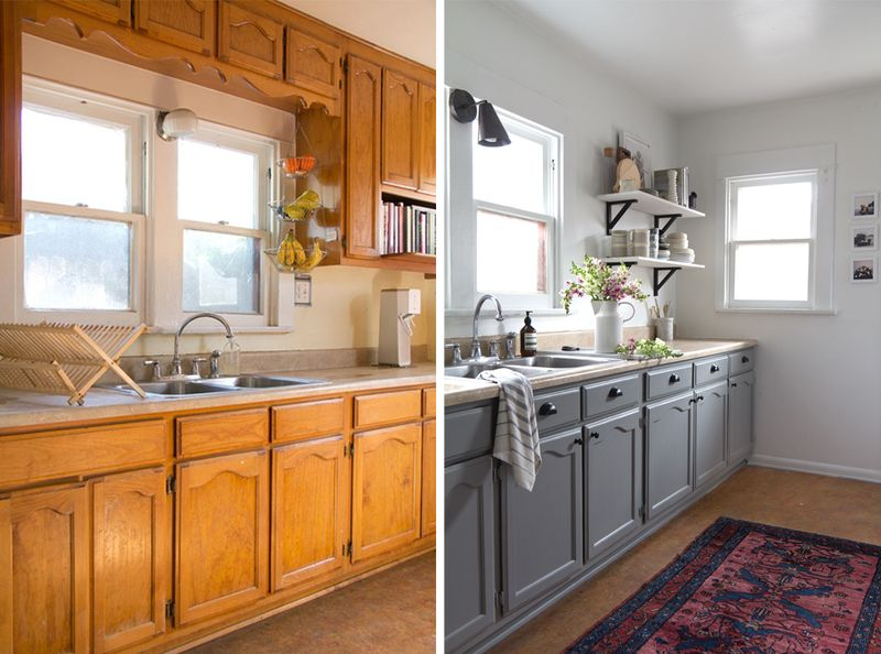 The big reveal my kitchen makeover after photos anne sage for Kitchen cupboard makeover before and after