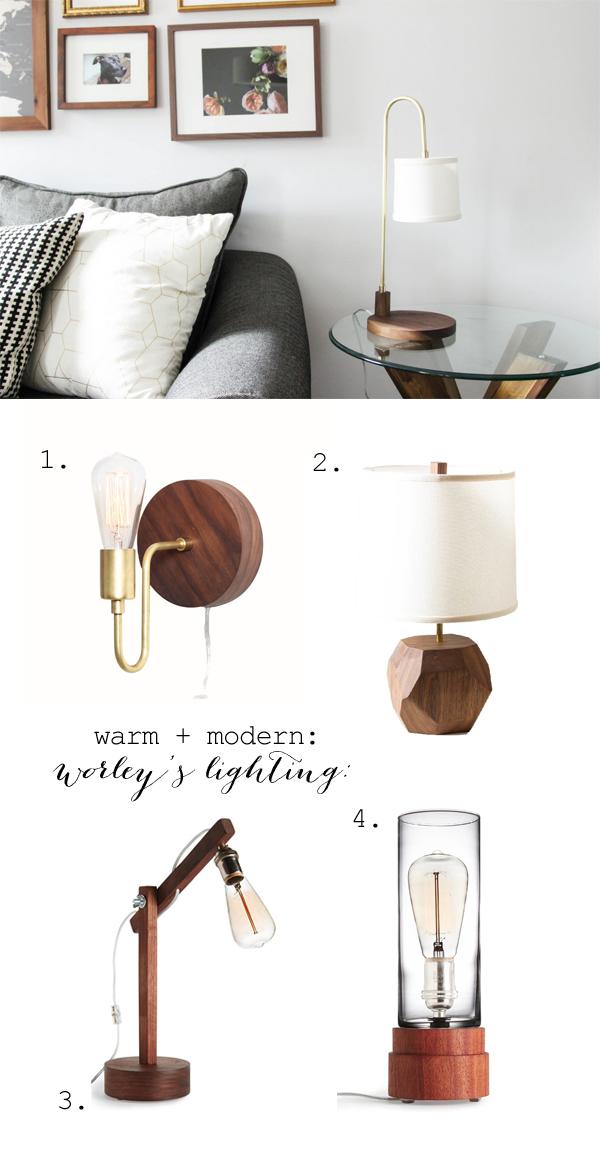 Brass + wood modern lighting