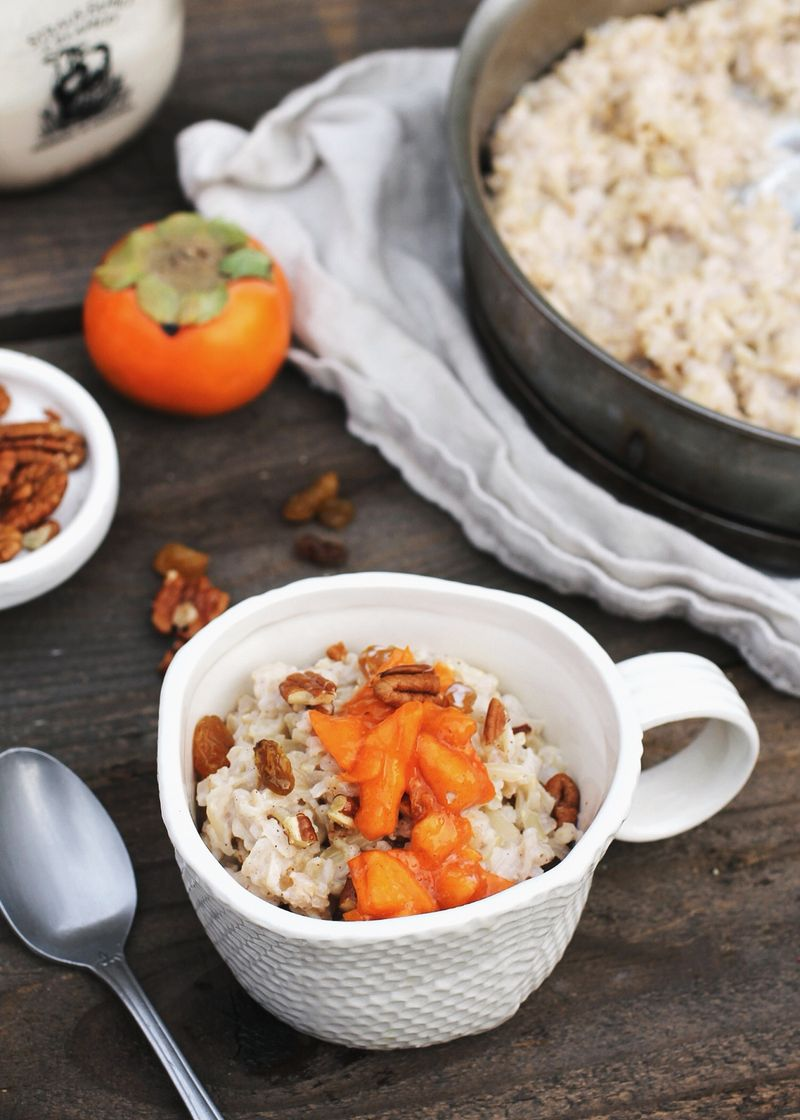Rice pudding with quick persimmon jam