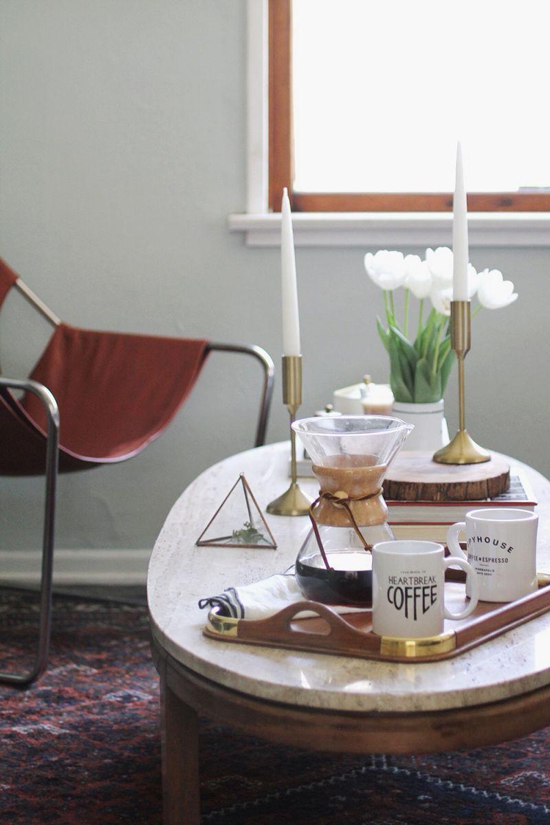 Warm modern coffee table styling