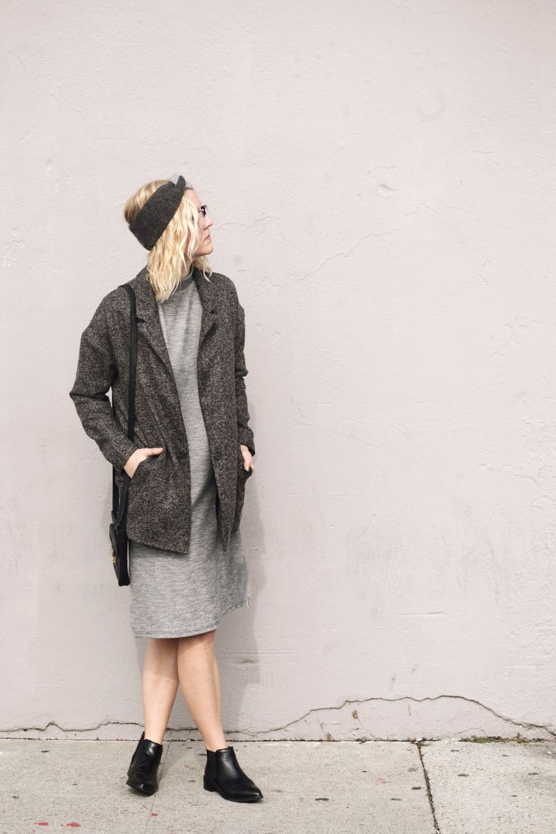 Tunic dress and blazer