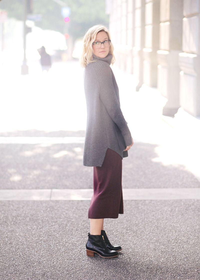 Midi pencil skirt + sweater