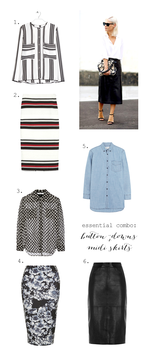 Midi skirts + button downs for spring