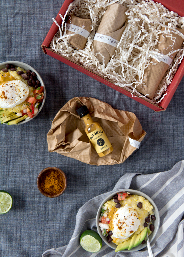 Huevos rancheros bowls with hatchery tasting box